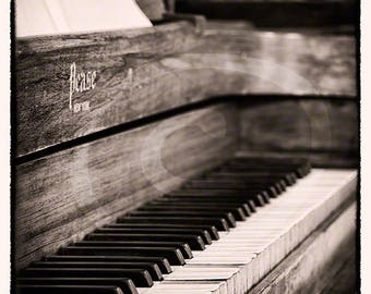 Vintage Piano Photograph Print, Wall Art, Black and White, Music Art Print, Photograph, Home Accessories, Sepia, Vertical Art Photo Print