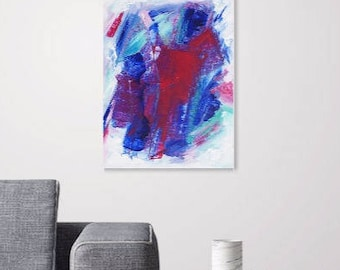 Abstract Art. Bright Contemporary Wall Art Original Painting Acrylic Palette Knife. Stretched Canvas Pink Blue White FREE UK SHIPPING