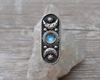 Rainbow Moonstone and Sterling Silver Your Choice Ring or Necklace Moon Goddess II