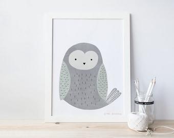 owl, nursery art print,  Giclee Art Print, woodland, archival art print
