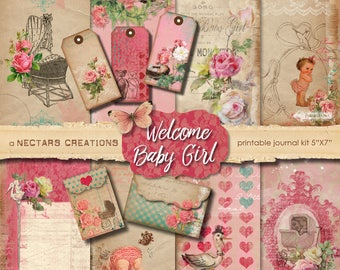 WELCOME BABY GIRL Vintage Printable Junk Journal Kit. Antique floral style, use for Scrapbooking, Journals, Card Making or Mixed Media craft