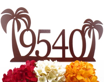 Tropical Palm Tree House Number Metal Sign - Copper, 18x9.5, Outdoor Sign, Address Plaque, Outdoor Sign, Custom Sign