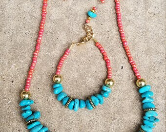 Coral and Imitation Turquoise necklace with gold plated beads  Bracelet and earrings.