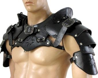 Hard leather Pauldrons set for warrior
