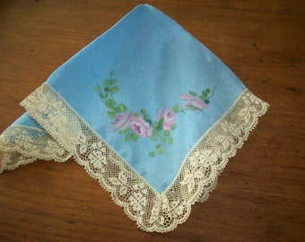 Antique Lace silk  hanky pink roses something blue wedding