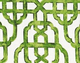 Tab Top Curtain Panels Imperial Jade Green Lattice