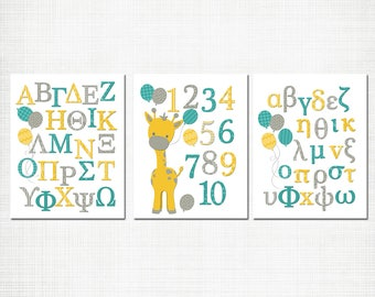Greek abc wall decor alphabet poster giraffe nursery art numbers poster baby boy girl room decoration toddler baby shower gift yellow teal