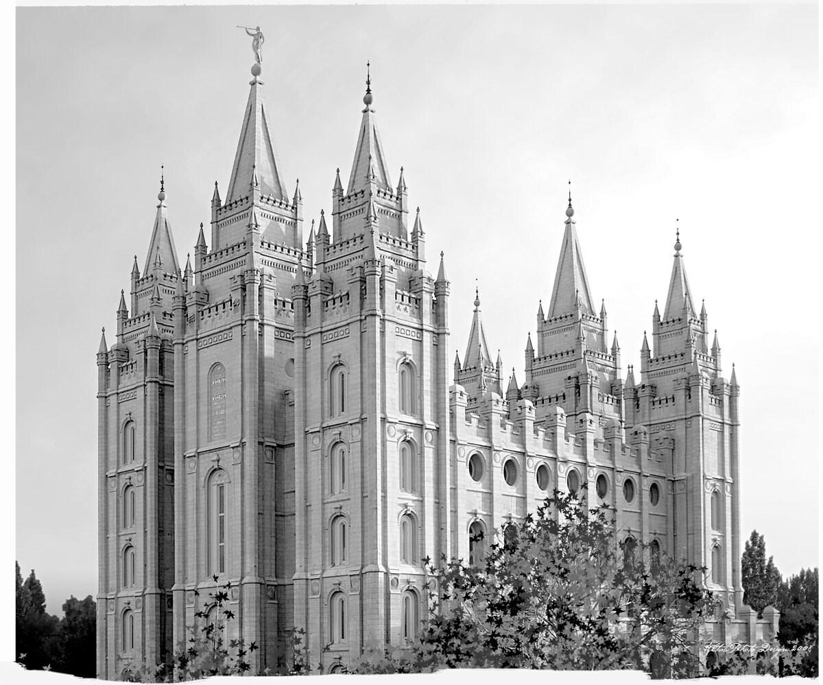 Archivo Digital de 20 x 24 Templo de lago salado blanco y