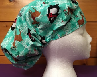 Women's Christmas adjustable bouffant surgical scrub hat.
