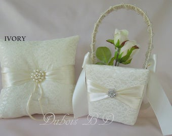 Wedding ring pillow, Ivory, White or Champagne ring bearer pillow and flower girl basket 2 pcs. set, Wedding decoration, Lace ring pillow