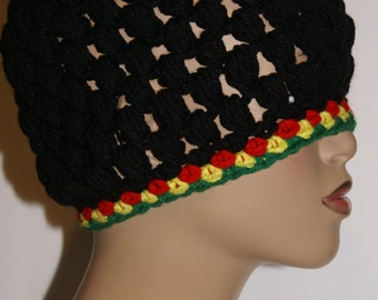 Crochet Hat - Rasta Black