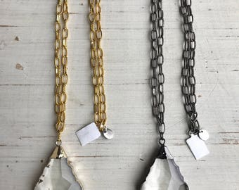 Gunmetal and Gold Glass Crystal Necklace with Gunmetal and Gold Plated Chain