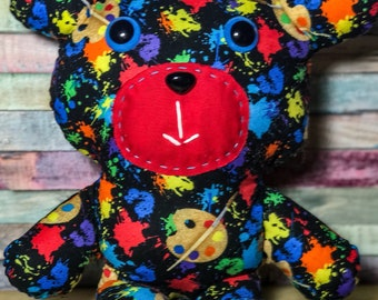 Nerdibears Handmade Handsewn  Artsy Teddy Bear Stuffed Animal Toy