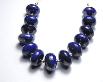 13 Pcs Extremely BeautifulTop Quality Afghanistan Natural Lapis Lazuli Smooth polished Round beads Size 14 - 12 MM