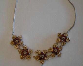 Vintage Sterling Silver Vermeil Garnet Topaz Snowflake Necklace AS/IS