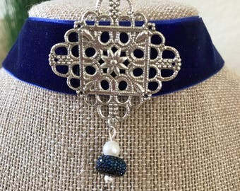 "1"" Beautiful Royal Blue velvet with silver pendant and drop accent"