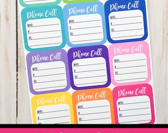 Phone Call Planner Stickers | Functional Stickers | Happy Planner Stickers | Phone Call Reminder | Phone Call Notes Sticker | Erin Condren