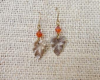Leaf earrings, Vintaj jewelry, leaf charm, nature jewelry, BOHO style, unique, gift item, orange earrings, BOHO jewelry, aged brass jewelry