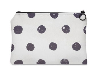 charcoal polka dot pouch, pochette, zipper pouch, clutch, makeup bag, toiletry bag, travel bag, purse, screen print, gifts for her