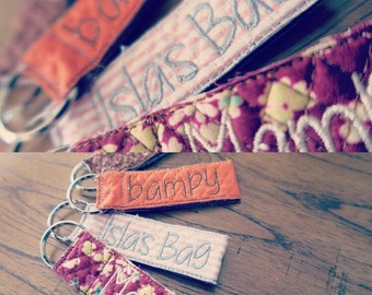 Handmade Personalised Quilted Fabric Key Fobs