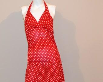 Vintage Dress Lipstick Red Polka Dot Halter Fit and Flare
