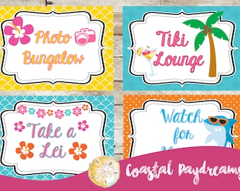 Luau Party Decorations, Luau Party Signs, Luau Party, Hawaiian Party Signs, Hawaiian Luau, Girls Birthday, Girls Luau, Luau Signs