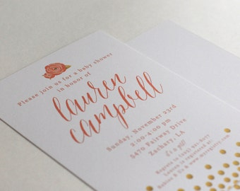 Flower and Gold Dot Baby Shower Invitations-FREE SHIPPING or DIY printable