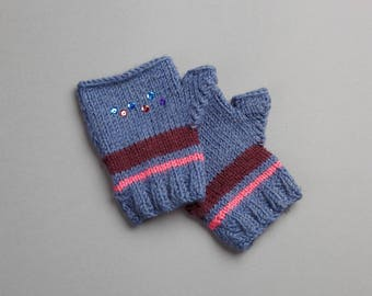 Child mittens knit 100% handmade in France wool sizes Blue Pink Purple with glitter
