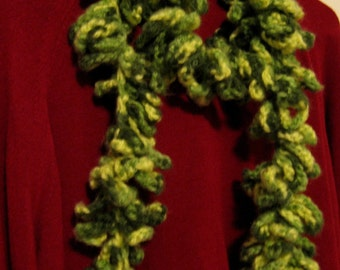 Variegated Green Boa Scarf Neck Warmer Scarflette Fashion Shawl