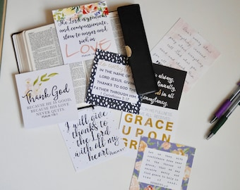 Pretty Scripture Cards, Set of 8, Verses for Grace and Gratitude, Instant Download