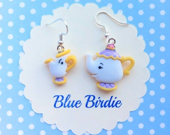 Disney Beauty and the Beast earrings Disney jewelry Mrs Potts and Chip Disney jewellery Disney earrings Disney dangle earrings gifts