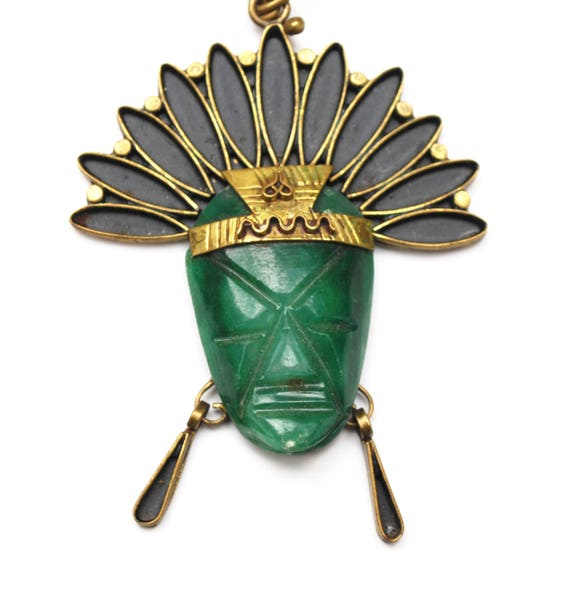 Green Onyx Mask Necklace - Signed Mexico - Brass - Tribal Aztec - Carved  gemstone gemstone - Boho Face head dress pendant