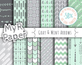 """Arrow digital paper: """"GRAY & MINT ARROWS"""" digital paper pack of backgrounds in mint, grey and green with arrow and chevron"""