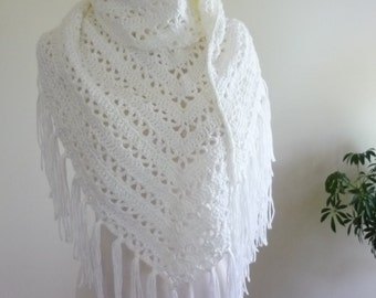 Bridal Shawl Crochet Shawl in White with Fringe - Wedding Shawl - Wrap Evening Wear - Ready to Ship - Direct Checkout - Gift for Her