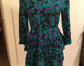 Vintage 1980s Ruffle dress