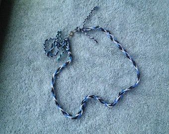 Braided Necklace/Cord.  White/Brown/Blue. 100% Acrylic Yarn. 19 inches/48 cm
