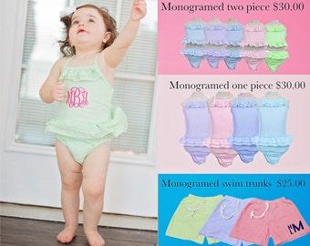 Monogrammed Girls Bathing Suit - toddler swimsuit - Toddlers Bathing Suit - Monogrammed Kids swimsuit -