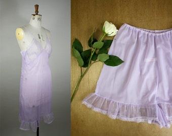 1960s Slip and Tap Pants Set / Vintage Lingerie Set / Matching Vintage Lingerie / 1960s Tap Pants / Nylon Slip / Size Medium / S M L