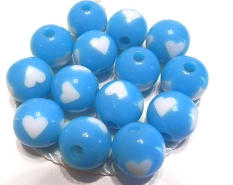 New 10 Light Blue White Heart Acrylic Round Beads 12mm