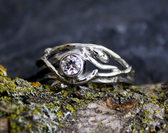 Ethical Canadian Diamond 14kt White Gold Engagement Branch Twig Tree Organic Ring