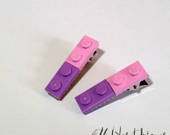 Pair of pink and purple Lego bricks strips