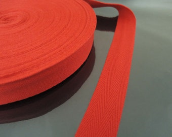 """Red Cotton Twill Tape 1"""" or 1/2""""- Red Herringbone Cotton Twill Tape CT65 ( 25mm 1 inch ) or ( 13mm 1/2 inch )"""