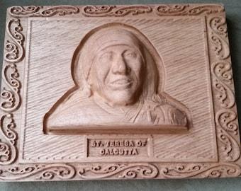 Original Carved Wooden Plaque of St. Teresa of Calcutta