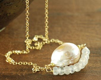 Blush Baroque Pearl Moonstone Necklace in 14k Gold Fill, Pearl and Moonstone Birthstone Necklace, Organic Wedding Jewelry
