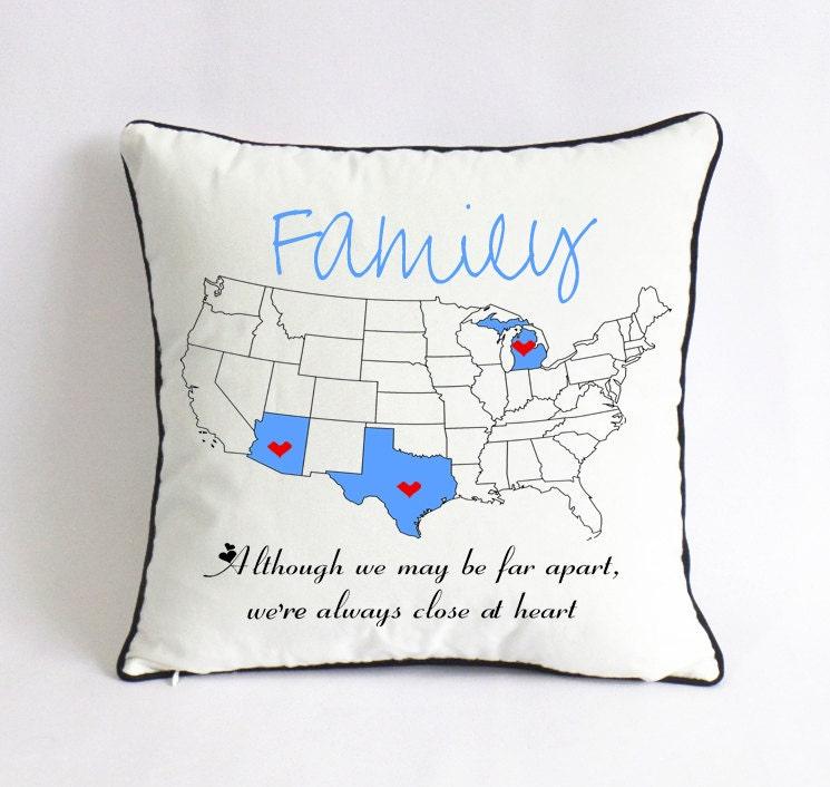 long distance family pillow caseXmas gift for familyUS map