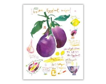Grilled eggplant recipe print, Watercolor recipe art, Kitchen print, Food illustration, Vegetable art, Kitchen decor, 8X10, Middle east food