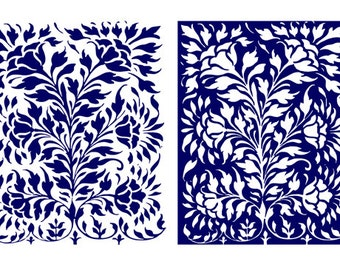 Modern floral wall decor pattern- set of 2