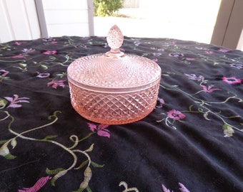 Vintage Pink Glass  Diamond Cut Powder Jar with Lid or Candy Dish- Pink Depression Glass - Diamond cut with Star Cut Base