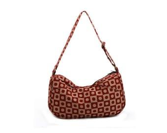 Tote bag,Cotton Print bag, Hobo, Slouch Bag, Adjustable Straps-Emma in Bordeaux
