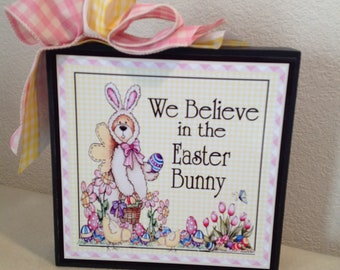Easter Sign, Easter Bunny Sign, Believe In Easter Bunny Sign, Spring Sign, Easter Bear Bunny Sign, Kitchen Sign, Country Sign